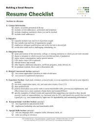 Resume Checklist 4 H Cornell University