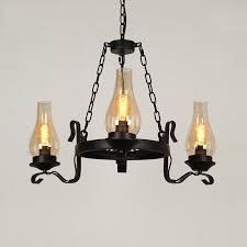 massie vintage black metal wagon wheel chimney glass shade 3 light 6 light chandelier