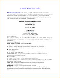 Pleasant Resume Format For Fresher Hr Job On Resume Format