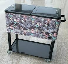 outdoor cooler cart metal qt party rolling patio ice chest stainless steel garage cover outdoor cooler cart