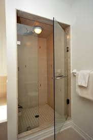 walk in shower lighting. Entrancing Ceiling Shower Lighting Over Small Walk In With Single Frameless Glass Doors