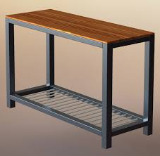 teino wood metal sofa table with wood top  voigt home collection