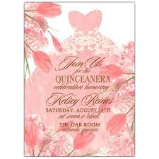 Invitations Quinceanera Floral Bouquet Pink Dress Quinceanera Invitations