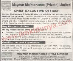 Maymer Maintenance Pvt Limited Karachi Jobs For Chief Executive Officer