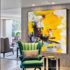 2018 hot hand made large wall art yellow black white art for large spaces gray painting canvas from handpaintoilpainting 56 99 dhgate com