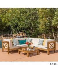 brava outdoor 4 piece wood sectional set with cushions by christopher knight home dark grey with grey teak finish size 4 piece sets patio furniture acacia