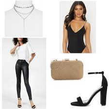 Fantastic long sleeve outfit winter ideas Fall Winter 21st Birthday Outfit With Black Leather Leggings Black Heels Gold Clutch Black Strappy Boohoo Stunning 21st Birthday Outfit Ideas College Fashion