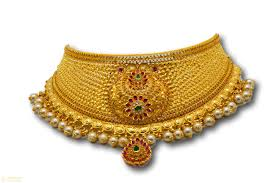 Latest Gold Jhumka Earrings Design With Price In India 1 Rj Gs001 22k Gold Choker Jhumka Earrings Set With Pearls Stones
