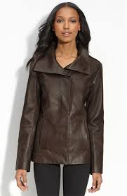 details about cole haan lambskin leather scuba jacket brown size 10