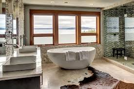 freestanding contemporary bathtubs. contemporary lake view bathroom with freestanding tub and glass tile shower bathtubs u