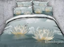 60 3d white lotus and dragonfly printed cotton 4 piece bedding sets duvet covers