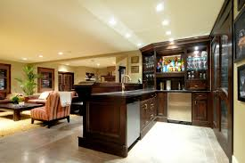 decoration: Contemporary Home Basement Bar Ideas With Dark Wooden Bar Table  Units Plus Enchanting Wine