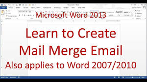 Microsoft Word Mail Merge Email Messages Word 2013 2016 Youtube