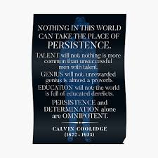 Calvin Coolidge Persistence Quote Poster