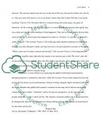 compare and contrast essay cathedral by john carver and the   laramie project essay example text preview