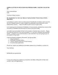 Letter Of Invitation For Uk Visa Template