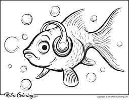 Small Picture Goldfish music fan coloring page RetroColoring