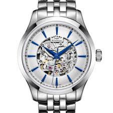 rotary classic and contemporary ladies and gents watches rotary mecanique skeleton stainless steel bracelet watch