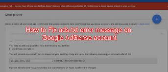 how to fix an ads txt alert in google adsense account