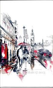 london print from original watercolor travel ilration modern art painting titled rainy london