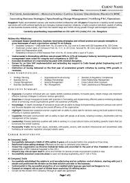 resume samples cv template cv sample c level manufacturing page 1