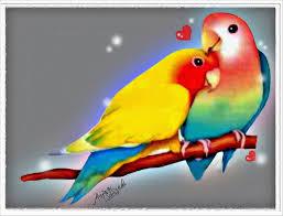 digital painting of love birds