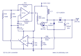 simple 12v to 24v dc dc converter using lm324 and transistor circuit diagram of 12v to 24v dc dc converter