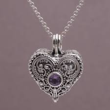 heart shaped sterling silver and amethyst locket necklace love memento