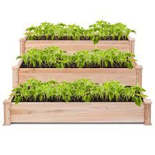 costway wooden raised vegetable garden bed 3 tier elevated planter kit outdoor gardening 6