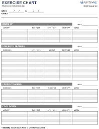 Free Exercise Chart Free Exercise Chart Printable Workout Template Workout