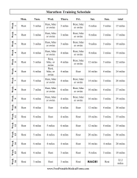 Workout Schedule Chart Athletes And Runners Can Use This Free Printable Chart As A