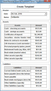 Excel Financial Statement Download Excel Personal Financial Statement Template Software 7 0