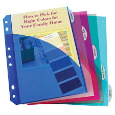Mini Binder 5 Tab Poly Index Dividers With Pockets Assorted Colors