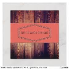 Rustic Grain Designs Rustic Wood Grain Coral Monogram Square Business Card