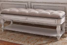 Liberty Furniture Magnolia Manor Bedroom Bench in Antique White ...