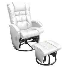 dezmo push back bonded leather recliner glider rocker with swivel and ottoman in white free