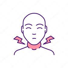 swollen lymph nodes rgb color icon