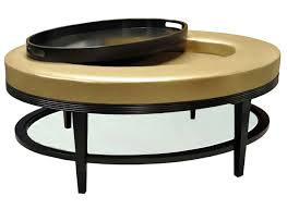 light gold color round faux leather ottoman coffe table with