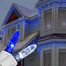 Blue And Warm White Icicle Lights Canvas Of Blue And White Christmas Lights White Christmas
