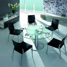 modern glass furniture. modern round glass dining table with 5 black chairs furniture