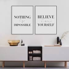Picture Frames With Quotes Amazing Black Minimalist Motivational Typography Believe Quotes Art Print