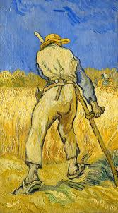 farm worker painting the reaper by vincent van gogh
