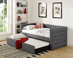 asia direct furniture. Modren Direct Asia Direct 8613 Suzanne II Collection Grey Tufted Linen Like Fabric  Upholstered Twin Size Day Bed With Trundle Intended Furniture