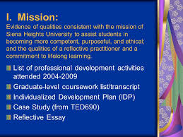 siena heights university graduate teacher education reflective  5 i