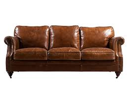 riveted antique leather sofa 3s
