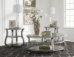 image of cayne silver metal glass 3pc rectangle round coffee table set with regard to