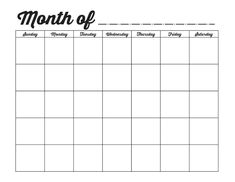 Blamk Calendar Printable Blank Calendar Template Organizing Blank