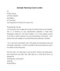 Sample Cover Letter For A Nurse Sample Cover Letter Nursing Sample Nursing Resume Cover Letters