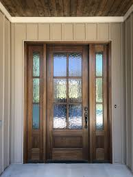 mahogany front door with privacy glass
