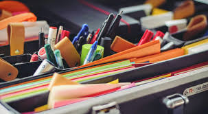 Closeup image of school supplies.